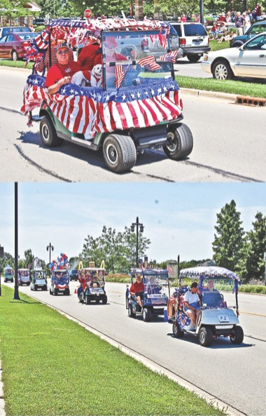 Golf carts participating in previous parades drive down the street. (Photos provided)