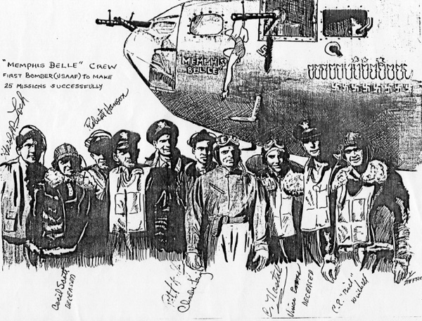 Saturday, May 20, is the famous Memphis Belle's 74th anniversary of its last combat mission. Waist gunner Clarence 'Bill' Winchell (far right, above) was a member of that historic crew. His daughter, Jacque Johnson, now lives in Sun City. For a celebration event on May 20, Johnson has donated several Memphis Belle memorabillia of her father's to the local Sweet Repeats Resale Shop. (Chris La Pelusa|Sun Day Photo)
