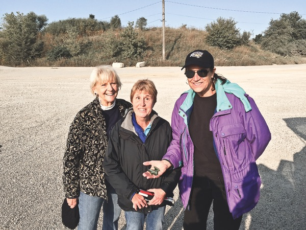 Balloonists (left to right) Betsy Davis, Mary Kozy, and Jennifer Galloway from Sun City Huntley (on 9/13/17) after their successful flight.