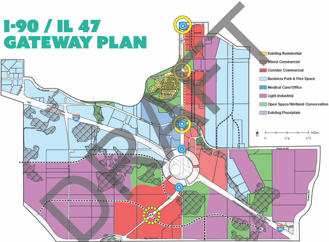 Map marks proposed zoning and expansion of land surrounding I-90 i change. (Click to enlarge)